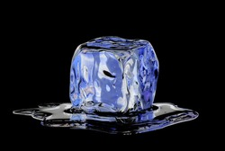 Melted ice cube on black background.
