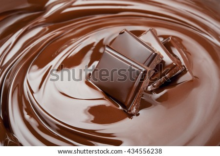 Melted slices of chocolate