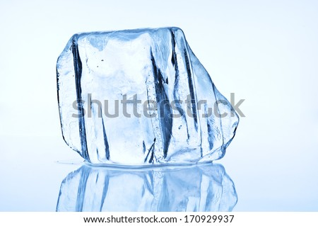 Melting blue ice block