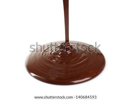 Melting chocolate dripping on white background