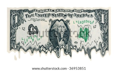 Melting Dollar concept for weak currency
