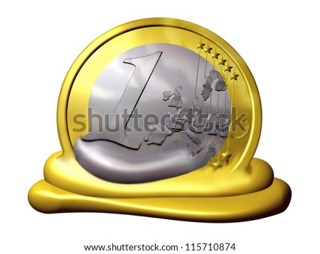 melting euro coin, symbol of inflation