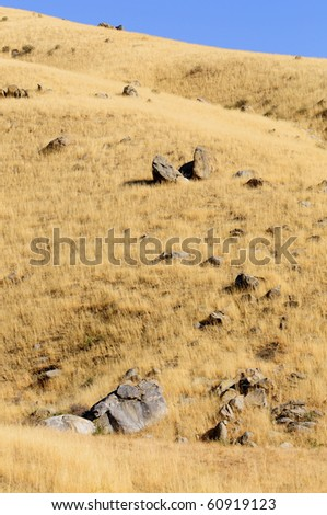 Melting glaciers left rocks and boulders in the foothills of the Sierra Nevada Range, California, during the last ice age - stock photo
