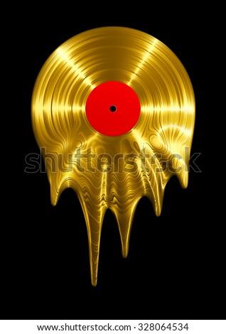 melting gold vinyl record   3d...