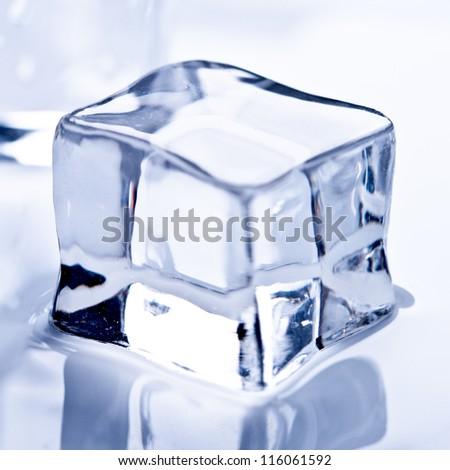melting ice cube closeup