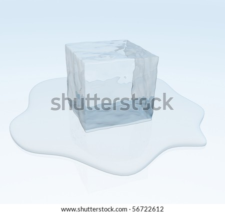 Puddle Of Water. cube in a puddle of water