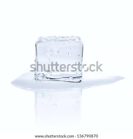Melting ice cube with water drops isolated on white