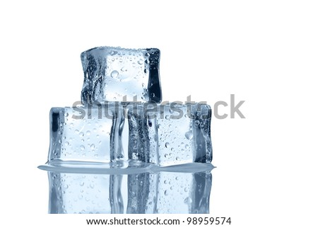 Melting ice cubes over white background with copy space - stock photo