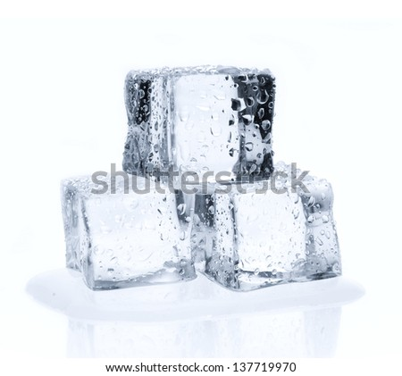 Melting ice cubes with water drops isolated on white