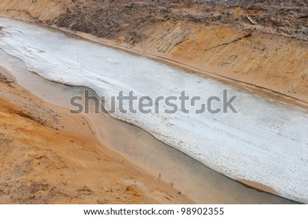 melting ice on a small ditch - stock photo