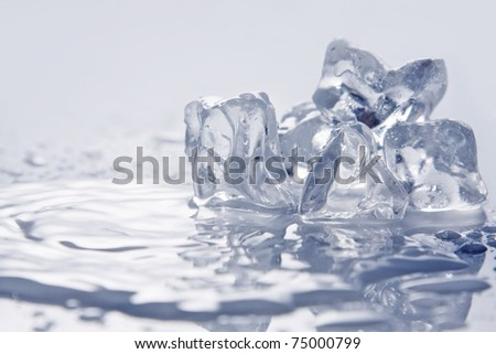 Melting ice on white