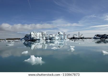 Melting Icebergs in Jokulsarlon ice lagoon at summer, South Iceland.