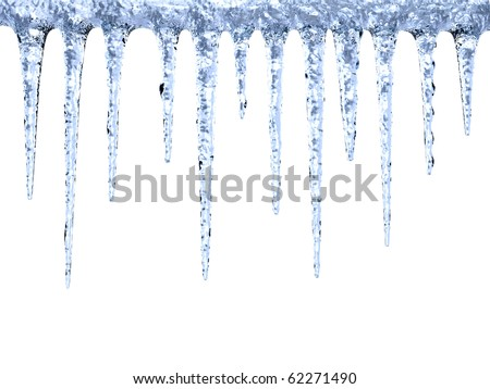 Melting icicles on white background with clipping path