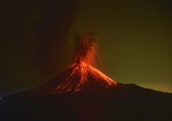 Melting incandescent lava filled the slopes of Anak Krakatau mountain