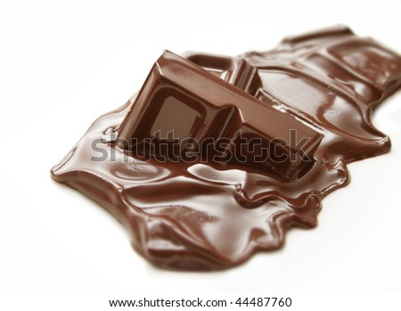 Melting piece of dark chocolate bar on white background