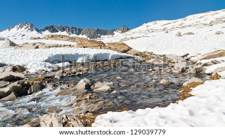 Melting Snow in the Sierra Nevada, California, USA