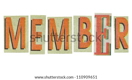 Member word, paper cut letters (has other words in this set)