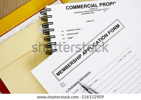 members application  registration form abstract with manila envelop.
