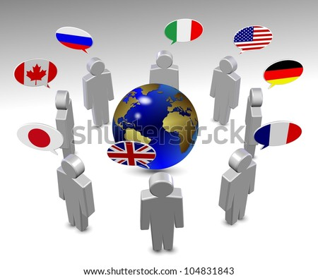 members of G8 group in a circle speaking in their own language / G8 language