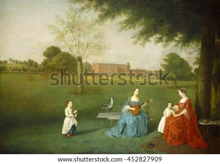 Members of the Maynard Family in the Park at Waltons, by Arthur Devis, c.1755-62, English painting, oil on canvas. Devis painted portraits of his sitters in invented landscape and interiors Zdjęcia stock ©