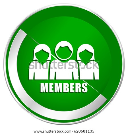 Members Silver Metallic Border Green Web Icon For Mobile Apps And Internet