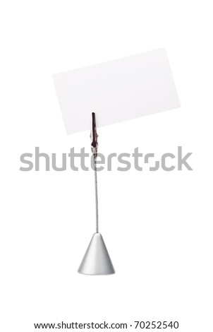 Memo holder with blank card isolated on a white background.