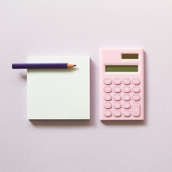Memo paper, sticky notes and digital calculator with colored pencil on purple background. top view, copy space