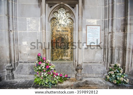 Photo of  memorial brass dedicated to Jane Austen, english novelist  in Winchester Cathedral, England