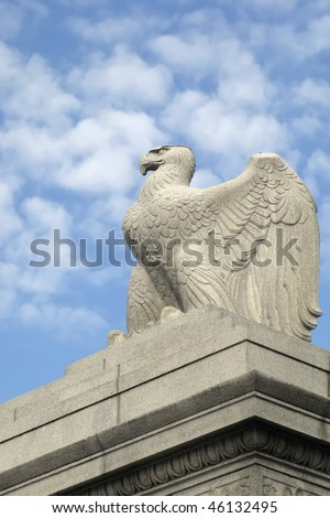 Memorial Bridge Eagle Statue Washington DC Vertical With Copy Space