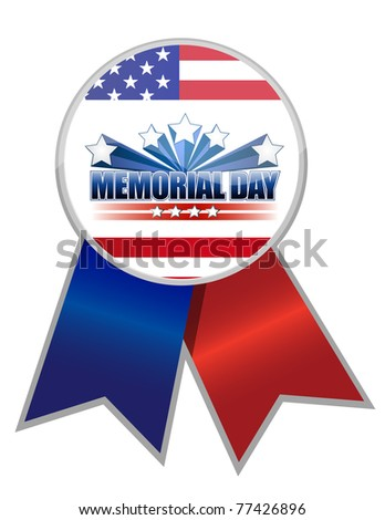 Memorial Day ribbon with the American flag colors isolated over white.