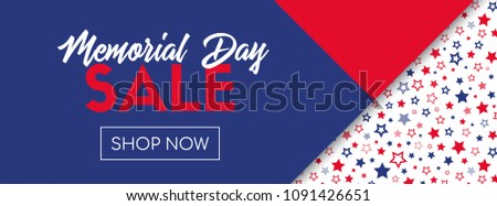 Memorial day sale banner. Online shopping template. Raster version