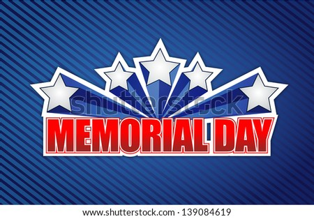 memorial day sign on a blue lines background