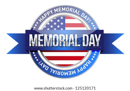 memorial day. us seal and banner illustration design - stock photo