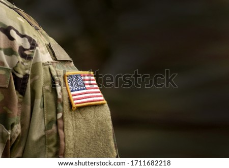 Memorial day. Veterans Day. US soldier. US Army. The United States Armed Forces. Military forces of the United States of America. Empty space for text