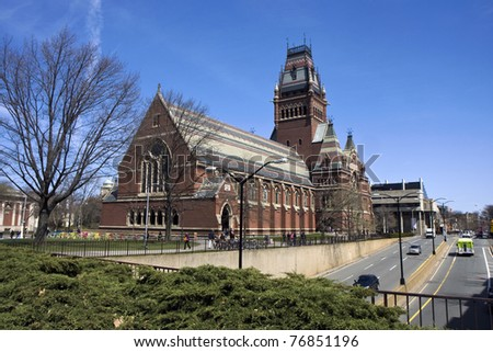 Memorial hall of Harvard university in Cambridge, Massachusetts