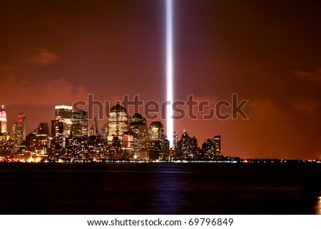 Memorial lights being displayed in Lower Manhattan on September 11th, 2007.