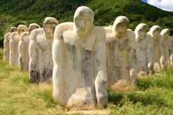 Memorial of Anse Cafard Martinique . Stone statues .