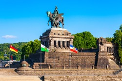 Memorial of German Unity at Deutsches Eck in Koblenz. Koblenz is a city on the Rhine, joined by the Moselle river.