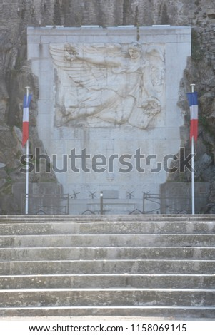 Memorial\n of Tournon sur Rhone - Tournon sur Rhone and Tain l'Hermitage, two  river towns and Vineyards on the Hills of the Cote du Rhone Area in France