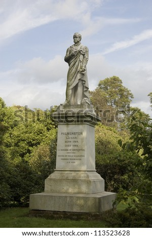 Memorial statue to Henry Temple, 3rd Viscount Palmerston (1784-1865), Prime Minister of the UK twice.  A founder of the Liberal Party. On public display in Southampton, Hampshire since 1868.