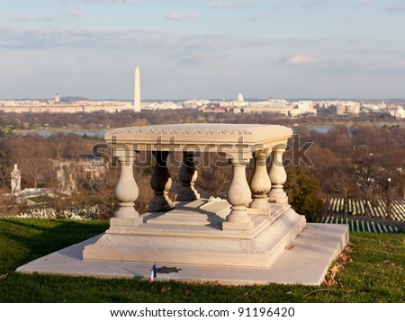 Memorial table outside Arlington House in Cemetery overlooks Washington DC at sunset - stock photo