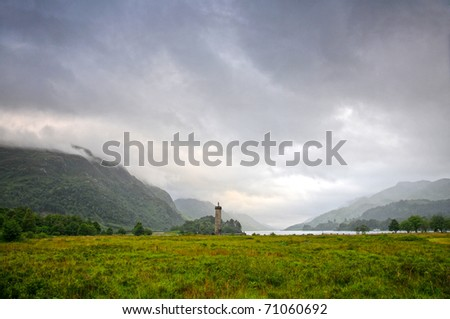 Memorial to the Jacobites, at Glenfinnan, Highlands, Scotland,