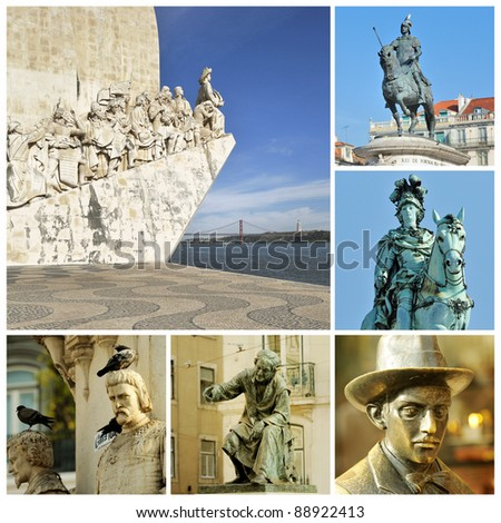 Memorials in Lisbon. Monuments, the capital of Portugal