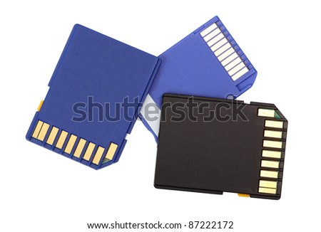 Memory Cards. Isolated with clipping path.