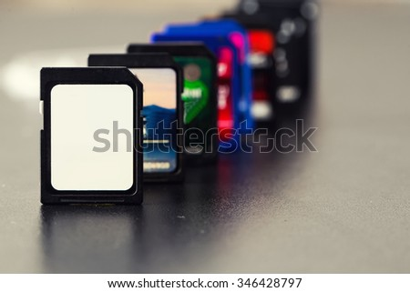 Memory Cards on dark background