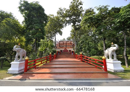 memory entrance Memorial Hall photo shows fair. Beautiful memories recall places of study. Location Chiang Mai, Thailand. CHIANGMAI UNIVERSITY CMU.