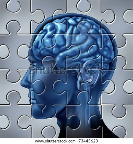 Memory loss and alzheimer's mental health symbol represented by a human brain with a puzzle texture.