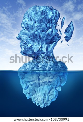 Memory loss due to Dementia and Alzheimer's disease with the medical icon of a frozen glacier iceberg in the shape of a human head and brain losing pieces of ice as thoughts and mind function.