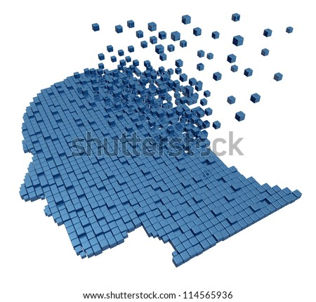 Memory loss due to Dementia and Alzheimer's disease with the medical icon of a group of three dimensional cubes shaped as a human head and brain losing function with the mind disappearing in the air.