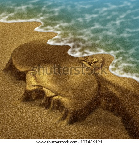 Memory problems due to Dementia and Alzheimer's disease as a medical health care aging concept with a head and brain sculpted from sand on the beach with the ocean washing it away with the tide.